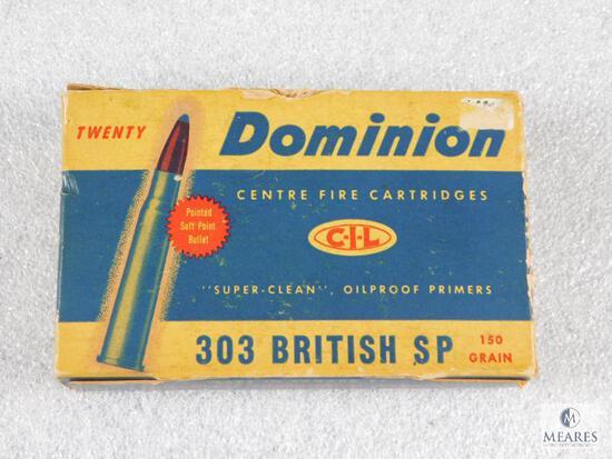 20 Rounds Dominion .303 British SP 150 Grain Ammo in Vintage Box