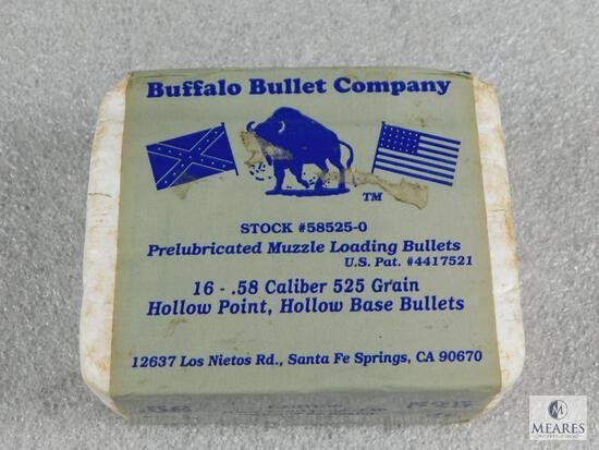 16 Count Buffalo Bullet Co .58 Caliber 525 Grain Hollow Base Bullets