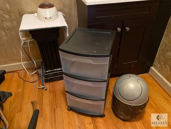Sterlite Rolling Organizer, GiGi Wax Warmer, Pedestal, Small Trash Can