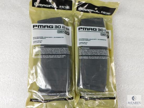 2 New 30 round Magpul Pmag AR 15 5.56 Rifle Magazines