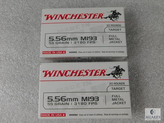 40 Rounds Winchester 5.56 Ammo. M193 55 Grain FMJ