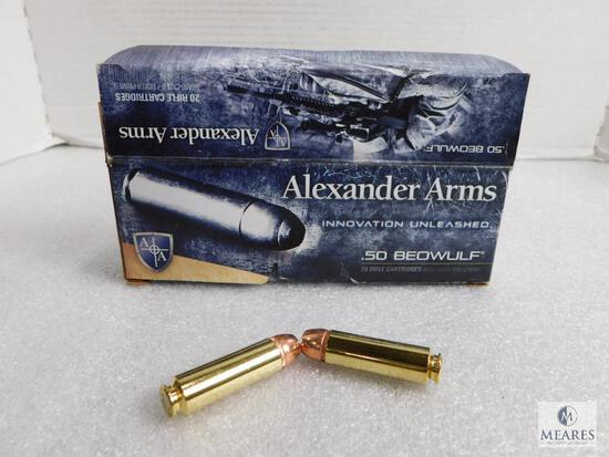 20 Rounds Alexander Arms .50 Beowulf 350 Hollow Point XTP Ammo