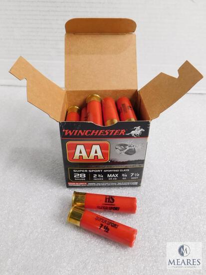 """25 Rounds Winchester 28 Gauge 2-3/4"""" 7-1/2 Shot Shells"""