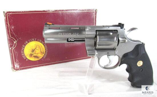 """1989 Colt Python .357 Magnum 4"""" Stainless Revolver with Box"""