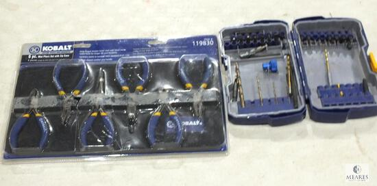 Lot Kobalt Speed Kit Bits and New 6 pc Set of Mini Pliers with Zipper Case