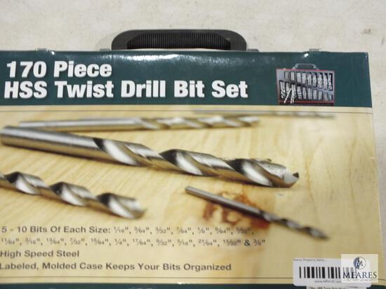 New 170 Piece HSS Twist Drill Bit Set with Case