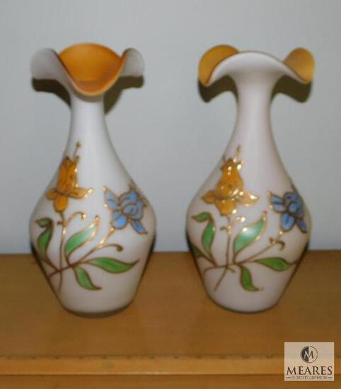 Pair of Frosted Glass Handpainted Vases