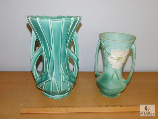 "Lot of 2 Vintage Pottery Vases McCoy 12"" and Weller 11"""