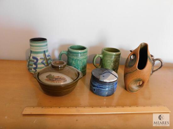 Lot of Pottery Stoneware Bowls, Vases, and Mugs