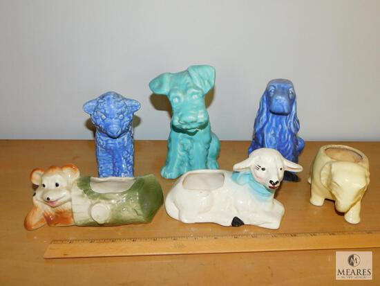 Lot Vintage Ceramic Animal Themed Planters