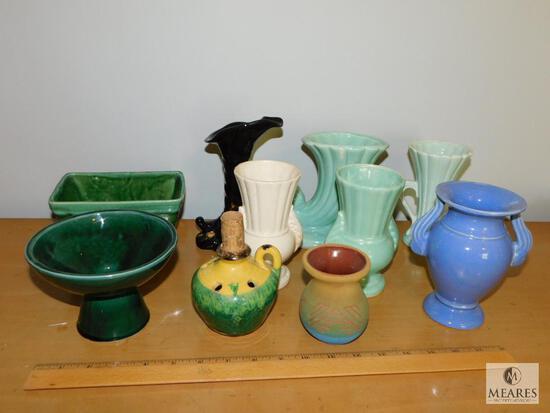 Lot Vintage Pottery & Ceramic Vases - Most Stamped USA on base
