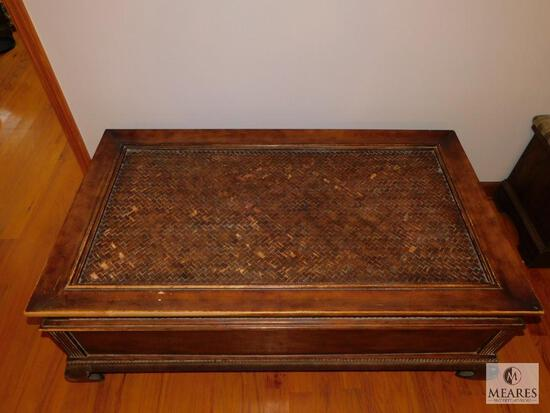 Large Coffee Table Wood with Metal Base