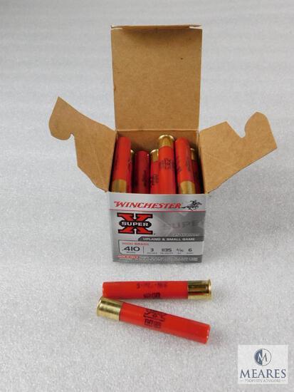 "25 Rounds Winchester .410 Gauge Shotgun Shells. 3"" #6 Shot."