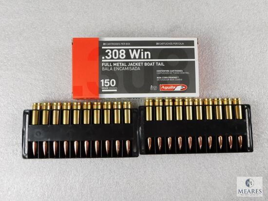 20 Rounds Aguila .308 Winchester Ammo. 150 Grain FMJ Boat Tail.
