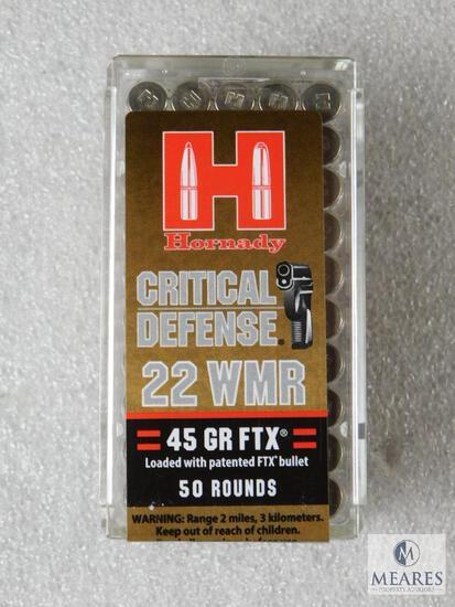 50 Rounds Hornady Critical Defense .22 Magnum Ammo. 45 Grain FTX