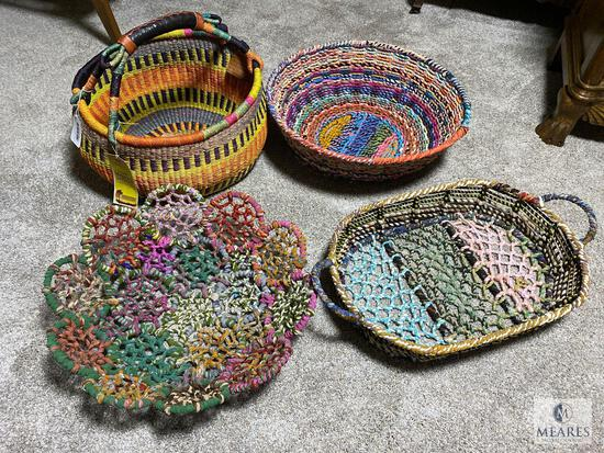 Fabric Covered Wire Baskets and African Market Basket
