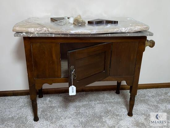 Antique Wood and Marble Washstand