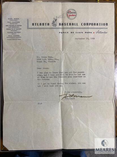 1944 Letter from Earl Mann, President of The Atlanta Crackers