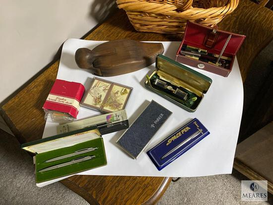 Vintage Pens, Playing Cards, Convalescent Glasses, Hidden Compartment Wooden Duck