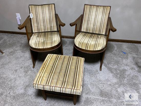 Matching Pair of Theater Chairs with Vintage Footstool
