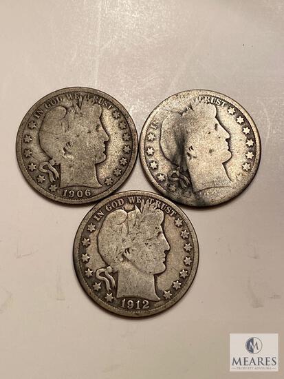 Mixed Lot of Three Barber Half Dollars