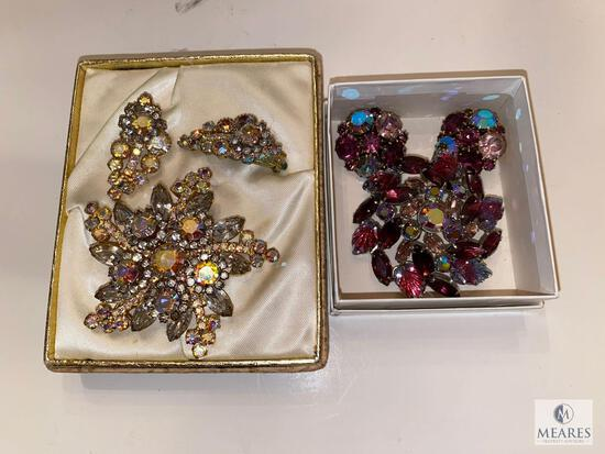 Two Vintage Brooch and Earring Jewelry Sets