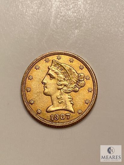 1907-D Five Dollar Liberty Gold Coin