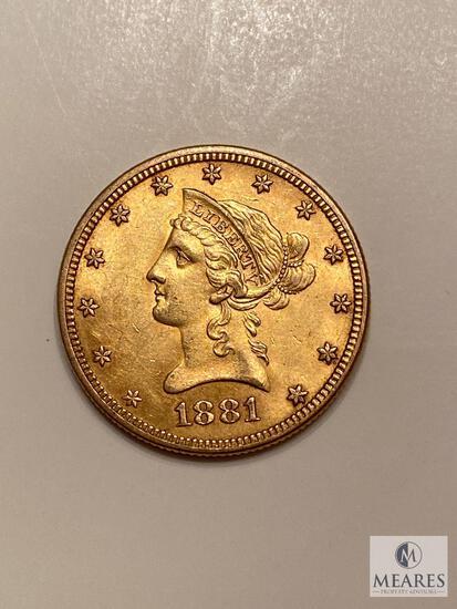 1881 Ten Dollar Liberty Gold Coin