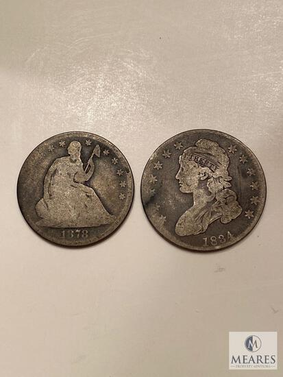 1878 Seated Liberty and 1834 Capped Bust Halves