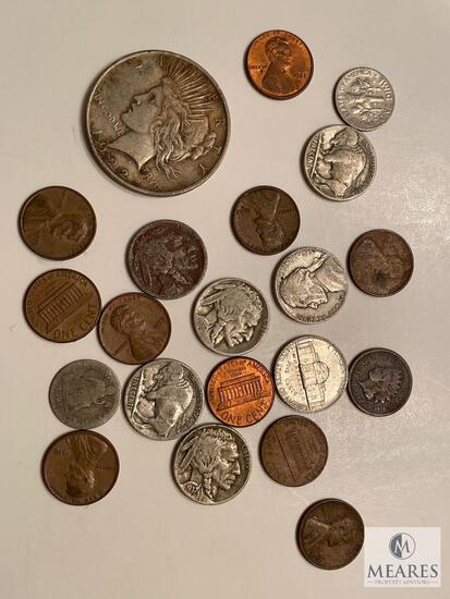 Coin Collector Starter Lot with Peace Dollar and Other Collectible Coins