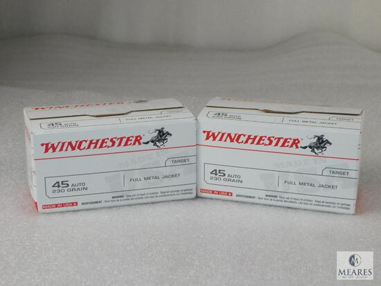 200 Rounds Winchester .45 ACP Ammo. 230 Grain FMJ