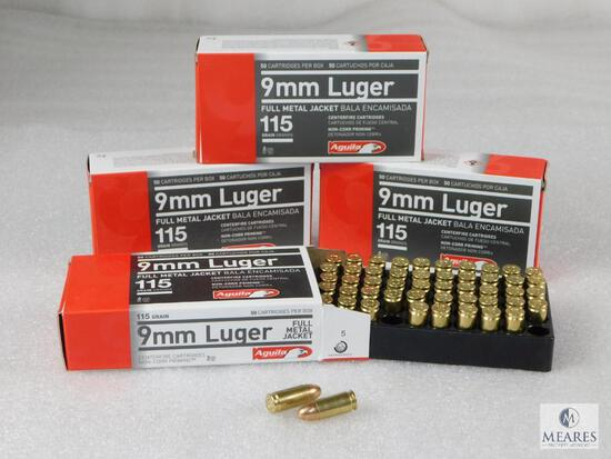 200 Rounds Aguila 9mm Ammo. 115 Grain FMJ (4 Boxes Of 50)