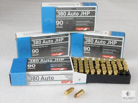 200 Rounds Aguila .380 ACP Ammo. 90 Grain Jacketed Hollow Point Self Defense (4 Boxes Of 50)