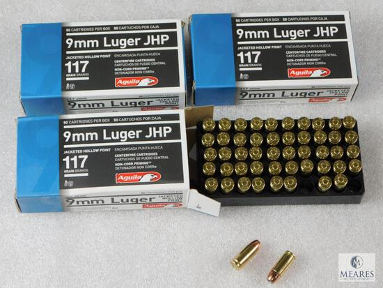 150 Rounds Aguila 9mm Hollow Point Ammo. 117 Grain