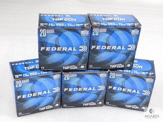 """125 Rounds Federal Top Gun .20 Gauge Shotgun Shells. 2 3/4"""" #8"""