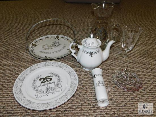 Lot of Assorted 25th Anniversary China & Glassware