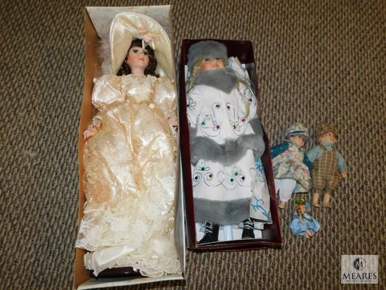 Lot of 5 Collectible Porcelain Dolls