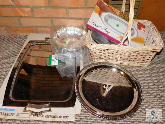 Lot of Silver Toned Serving Items (Most New) & Wicker Basket
