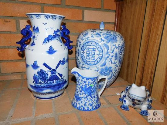 Lot of Blue & White Porcelain - Vase, Urn, Pitcher & Frog