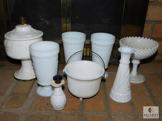 Lot of Assorted Vintage Milk Glass Pieces