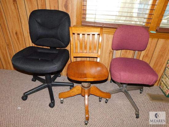 Lot of 3 Assorted Office Desk Chairs includes 1 Wooden & 2 Upholstered