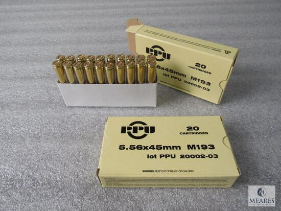 40 Rounds PPU 5.56mm M193 Ammo
