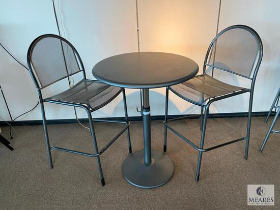 Metal Height-Adjustable Pub Table with Pair of Matching Metal Chairs