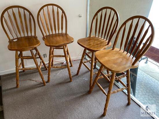 Four Matching Swivel Bar Stools