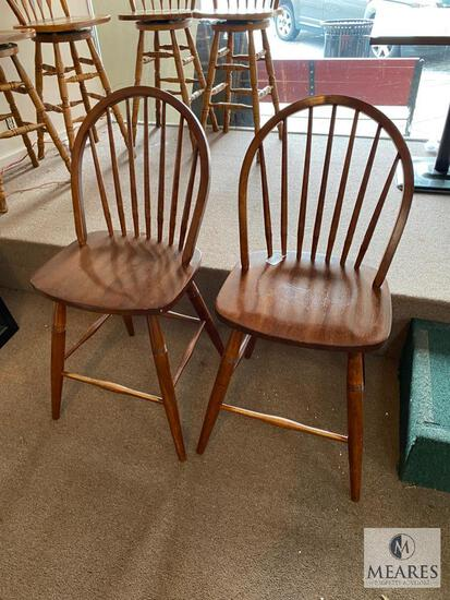Two Matching Windsor-Style Wood Dining Chairs