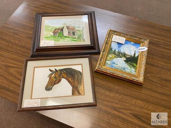 Three Framed Original Elizabeth D. McKinney Paintings