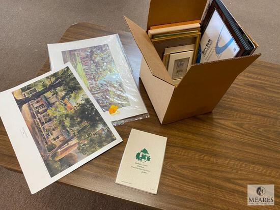 Assorted Picture Frames and Signed Prints with Vintage Handkerchief