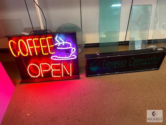 Neon COFFEE OPEN Sign and Non-Functioning Espresso Cappuccino Sign