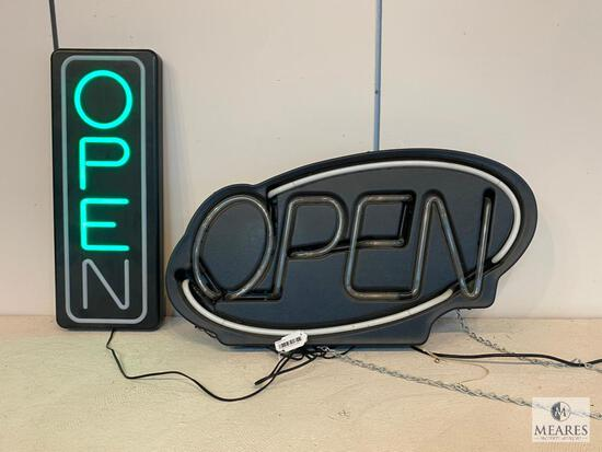 Rectangular LED OPEN Sign and Non-Functioning Neon Oval OPEN Sign