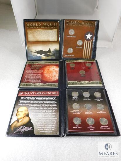 3 Nickel Sets: WWII Silver Nickels, Last 3 Years of Liberty, 100 Years of American Nickels